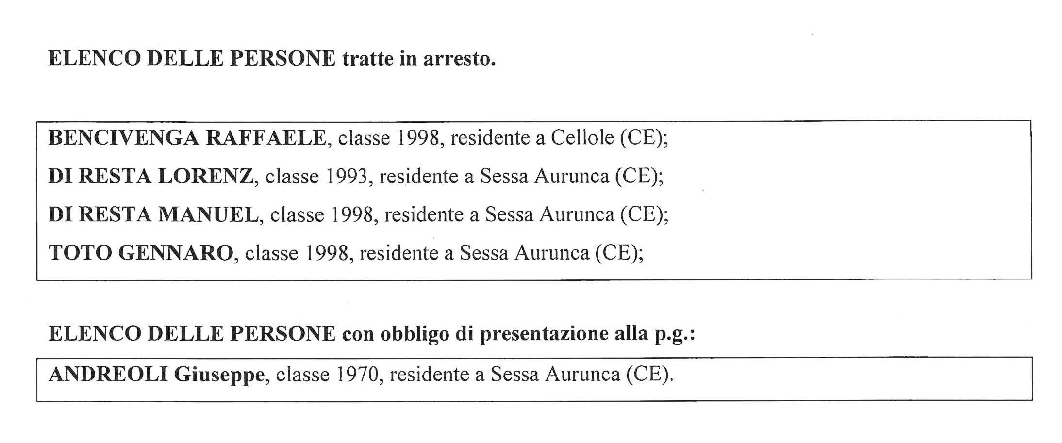 Smaltimento Rifiuti Sessa Aurunca spaccio tra sessa e cellole, 4 arresti (i nomi) - appia news